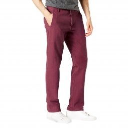 Pantalon Dockers Smart 360 Flex Alpha stretch Slim tapered Chocolate Truffle bordeaux