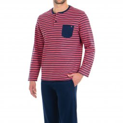 e5acb0070065 Pyjama long Eminence Fast en interlock de coton   tee-shirt manches longues  col tunisien