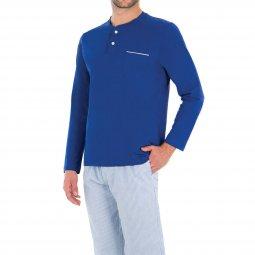 6c5f3cf1630b8 Pyjama long Eminence Tailoring en coton   tee-shirt manches longues col  tunisien en jersey