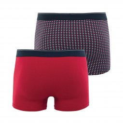 Coffret cadeau Eminence : Lot de 2 boxers en coton stretch rouge et à motif triangulaire