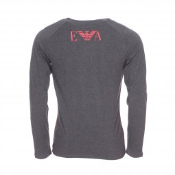 Tee-shirt manches longues col V Emporio Armani en coton stretch gris anthracite chiné