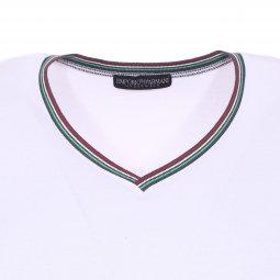 ... Tee-shirt col V à bande tricolore Emporio Armani en coton stretch blanc à  logo ... 7f7b7017851