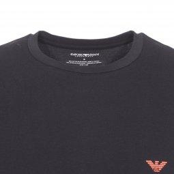 ... Tee-shirt col rond Emporio Armani en coton stretch noir à logo Eagle  sur la ... d251bc2f5ea
