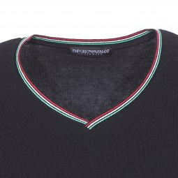 ... Tee-shirt col V à bande tricolore Emporio Armani en coton stretch noir à  logo ... fe47d92ce37