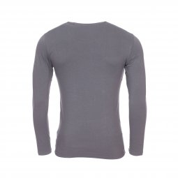 Tee-shirt manches longues col rond Emporio Armani en coton stretch gris anthracite