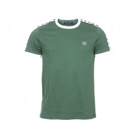 Tee-shirt col rond Fred Perry en coton vert bouteille à bandes blanches logotypées