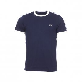 Tee-shirt col rond Fred Perry en coton bleu marine à bandes blanches logotypées