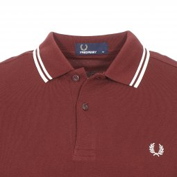 Polo Fred Perry Twin Tipped en piqué de coton rouge carmin