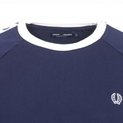 Sweat col rond Taped Fred Perry en coton bleu marine à bandes blanches logotypées