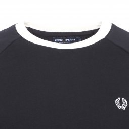 Sweat col rond Taped Fred Perry en coton noir à bandes blanches logotypées