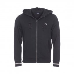 Sweat zippé à capuche Fred Perry en coton noir