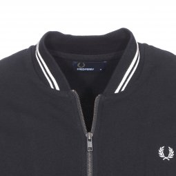 Sweat zippé bomber Fred Perry en coton noir