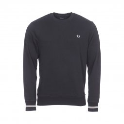 Sweat col rond Fred Perry en coton noir