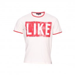 Tee-shirt col rond French Kick Like en coton blanc imprimé