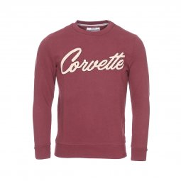 Sweat col rond French Kick Corvette en coton mélangé prune floqué