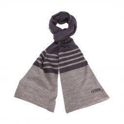 Echarpe Guess en laine mélangée bleu marine à rayures gris foncé chiné brodé 6e91e2cbe4b