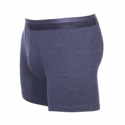 Boxer long HOM Classic en coton et modal stretch bleu denim chiné