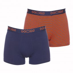Lot de boxers HOM Long Boxer Briefs Metropolis en coton stretch bleu marine et orange à rayures bleu marine