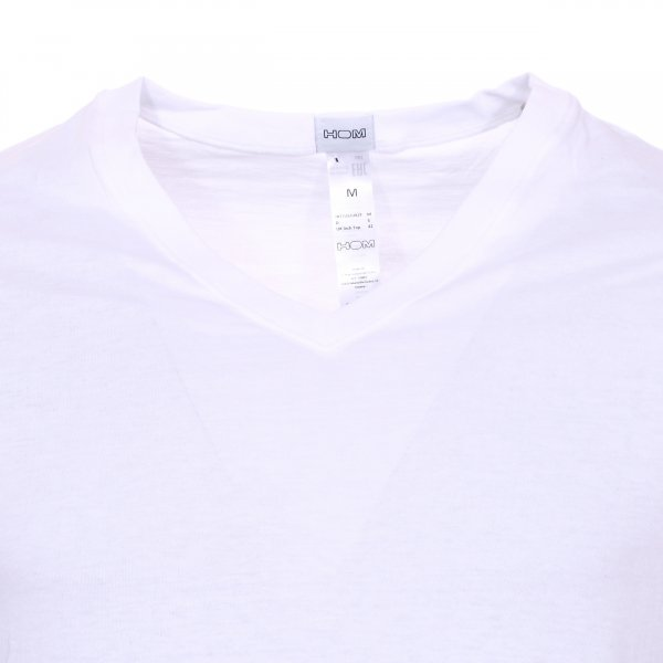 Lot de 2 tee-shirts col v Hom Essentiel Daily cotton blanc