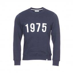 04c4ea794c97 Sweat col rond Harris Wilson Yacintho en coton bleu marine brodé 1975 ...