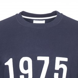 4404f3e61dbd ... Sweat col rond Harris Wilson Yacintho en coton bleu marine brodé 1975  ...