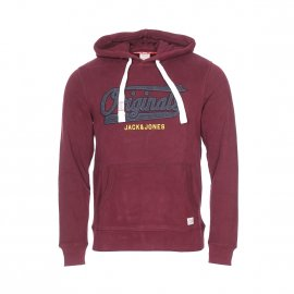 Sweat à capuche Jack & Jones Jorfara en coton bordeaux floqué
