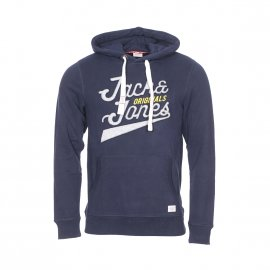 Sweat à capuche Jack and Jones Jorfara en coton bleu marine floqué