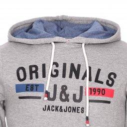 6938f9ba8051 ... Sweat à capuche Jack   Jones Jorlonely en coton mélangé gris clair  floqué ...