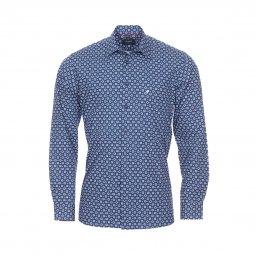 5f96e7a661fb Chemise droite Jean Chatel London en coton à motif floral bleu marine, bleu  et blanc ...