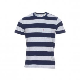 Tee-shirt col rond Levi's Set-In Sunset Pocket en coton à larges rayures bleu marine et gris chiné