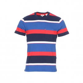 Tee-shirt col rond Levi's Set-In Sunset Pocket Sixties Rugby en coton à rayures bleu marine, blanches, bleu roi et rouges