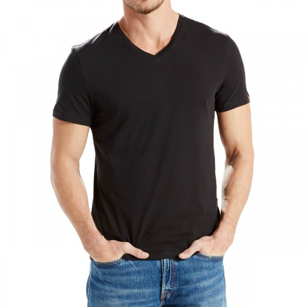Lot de 2 tee-shirts Levis Slim Fit V-Neck en coton noir-4-0