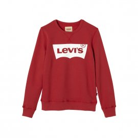 Sweat col rond Levi's Junior Batwi en coton stretch rouge floqué