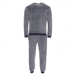 Pyjama long Mariner en velours : sweat et pantalon gris anthracite
