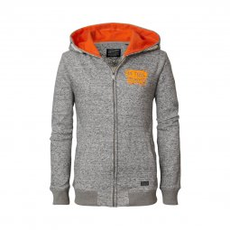 Sweat zippé à capuche Petrol industries Junior en coton mélangé gris chiné floqué en orange