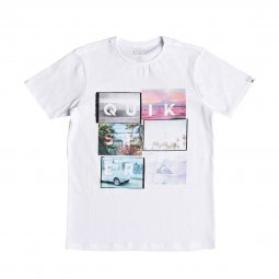 Tee-shirt col rond Quiksilver Junior Local Motive en coton blanc à imprimés photos