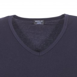 Tee-shirt col V Replay en coton stretch bleu marine