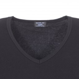 Tee-shirt col V Replay en coton stretch noir