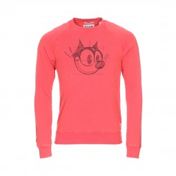 Sweat col rond Scotch & Soda Félix Le Chat en coton pêche