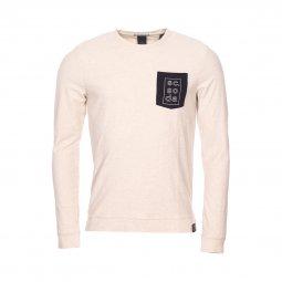 a841dfed9f8c8 Tee-shirt col rond manches longues Scotch   Soda en sergé de coton beige à  ...
