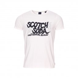 Tee-shirt col rond Scotch & Soda Simple Graphic en coton blanc floqué
