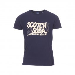 Tee-shirt col rond Scotch & Soda Simple Graphic en coton bleu marine floqué