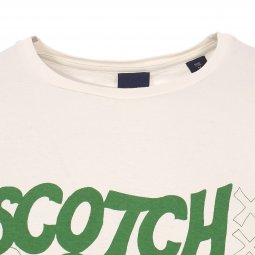 Tee-shirt col rond Scotch & Soda Simple Graphic en coton écru floqué