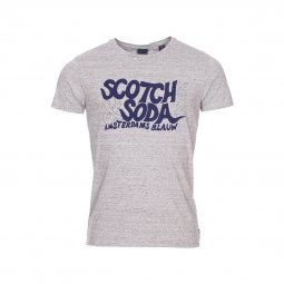 Tee-shirt col rond Scotch & Soda Simple Graphic en coton gris chiné floqué