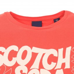 Tee-shirt col rond Scotch & Soda Simple Graphic en coton orange floqué