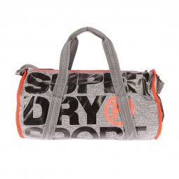 Sac de sport Superdry XL Sports Barrel gris anthracite floqué