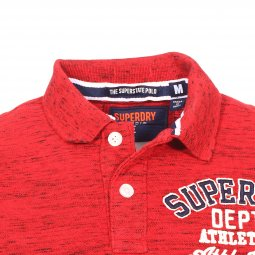 Polo Superdry Classic Superstate en piqué de coton rouge chiné