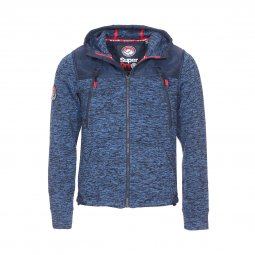 Sweat zippée à capuche Superdry Mountain bleu indigo chiné