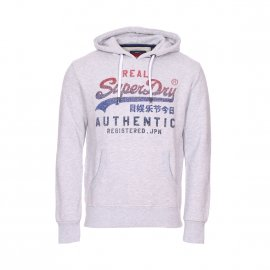 Sweat à capuche Superdry Vintage Authentic Fade en coton mélangé gris chiné floqué