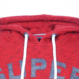 Sweat à capuche Superdry 34Th en coton mélangé rouge chiné floqué